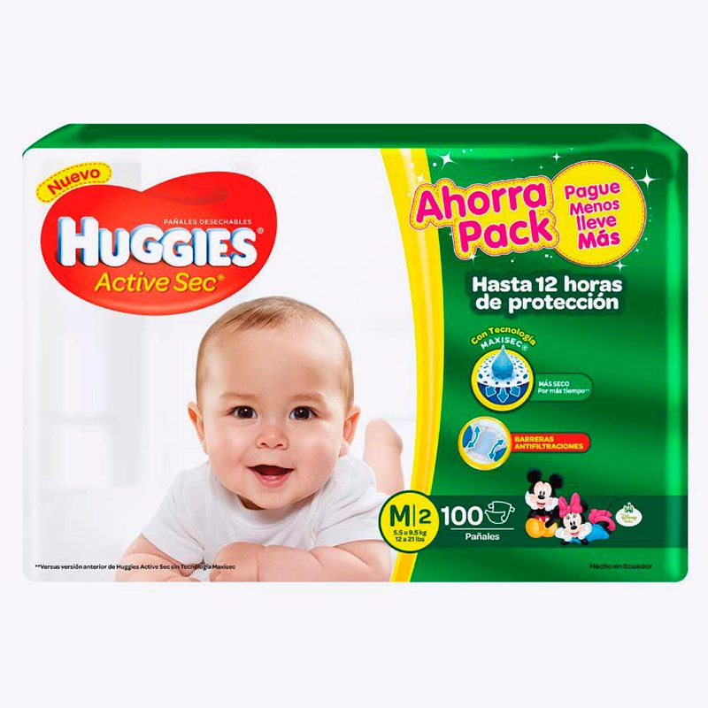 Huggies Active Sec M x 100