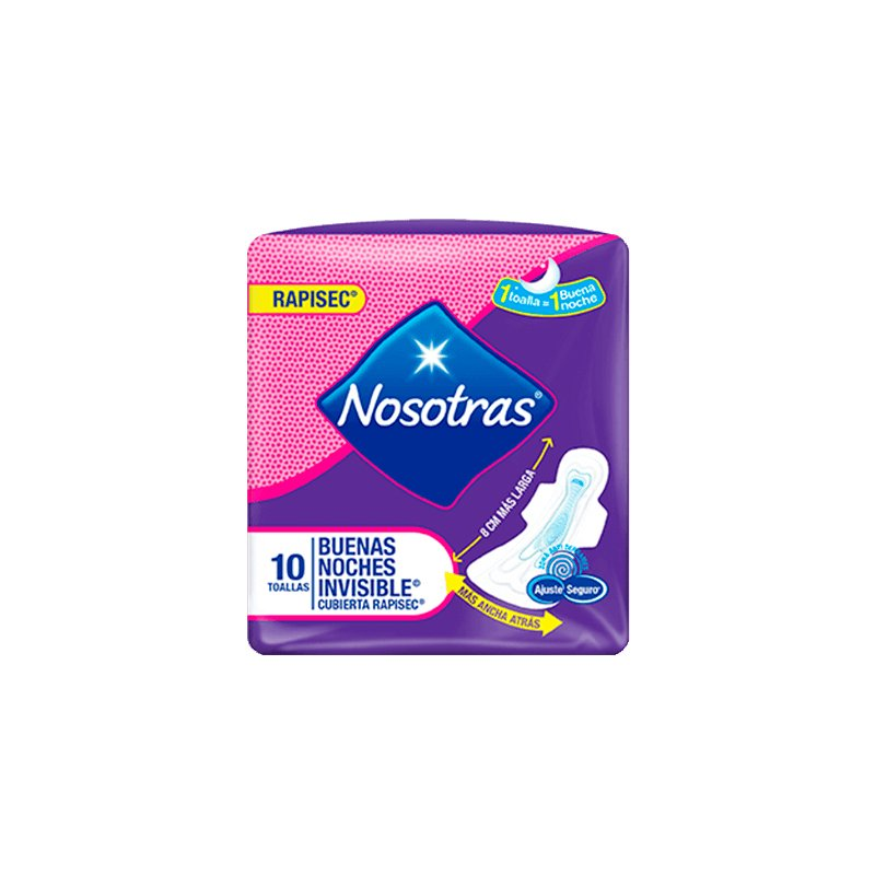 Toallas Higiénicas Nosotras Buenas Noches Invisible Rapisec x10